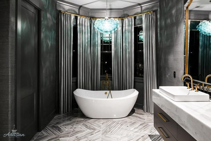 Cool And Sophisticated Designs For Gray Bathrooms: Sophisticated Gray And Black Bathroom Fitted With Black
