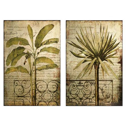 Set Of 2 Tropical Botanical Decorative Palm Tree Wall Art Part 87