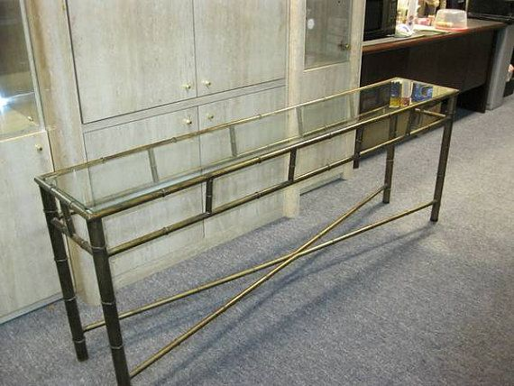 U003dVintage Brass MASTERCRAFT Console Table Faux Bamboo Hollywood Regency  Chinoiserie Sofa Mid Century Modern Credenza