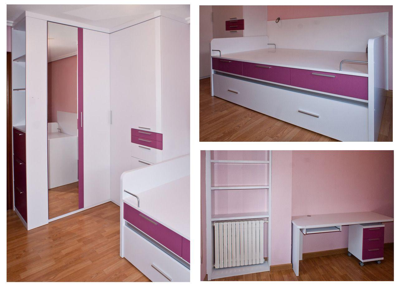 Dormitorio juvenil lacado blanco buscar con google - Armarios habitacion ...