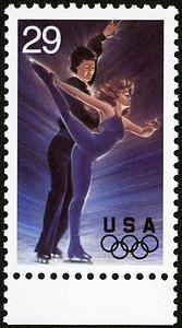 elaborados trajes, de, la gracia y melodías carismáticos se combinan para hacer baile de hielo en un favorito de los Juegos Olímpicos. Este sello de deportes de invierno olímpica de 25 centavos se emitió el 6 de enero de 1994.