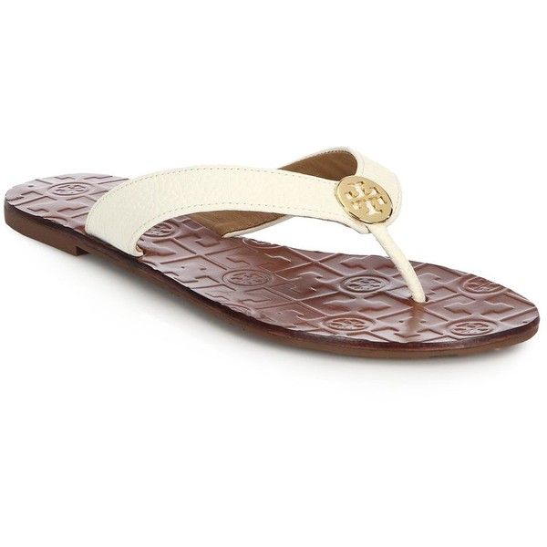 6c2a7361b Tory Burch Thora Tumbled Leather Thong Sandals ( 130) ❤ liked on Polyvore  featuring shoes