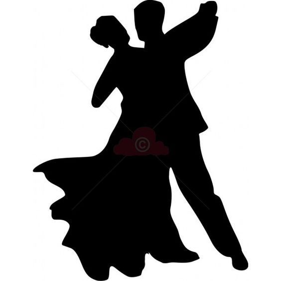 Silhouette of a couple dancing.