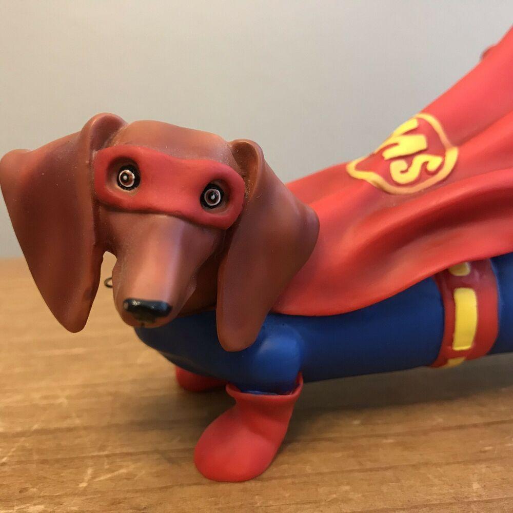 Details About Hot Diggity Dachshund Westland Super Weenie Weiner Dog Superman Dog Weiner Dog Weenie Dogs Dog Items