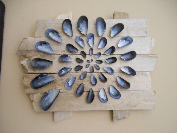 Driftwood Wall Art Blue Mussel Shell Meditation Spiral Abstract