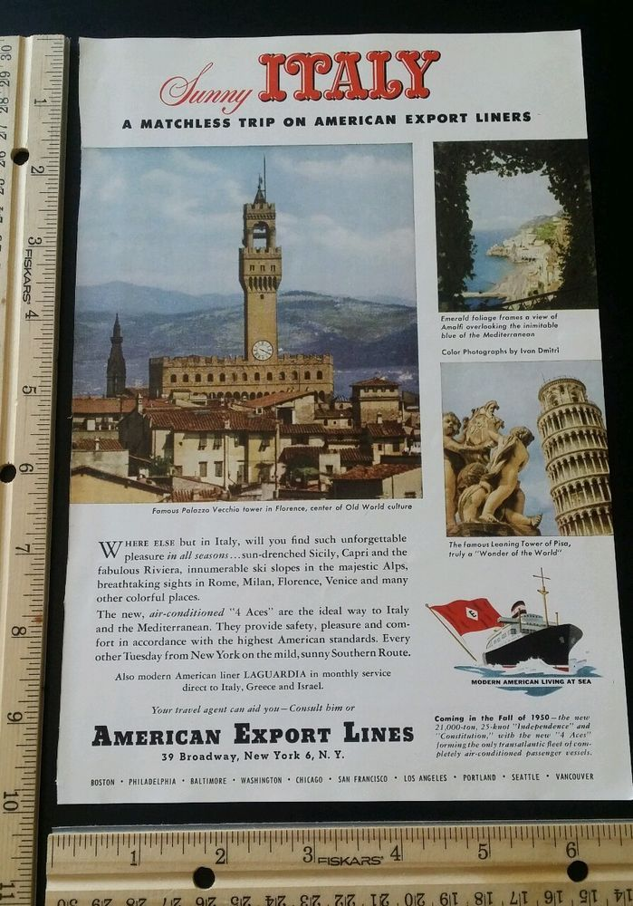 American Export Lines Italy Cruise ad from 1949 old vintage slot 7 travel