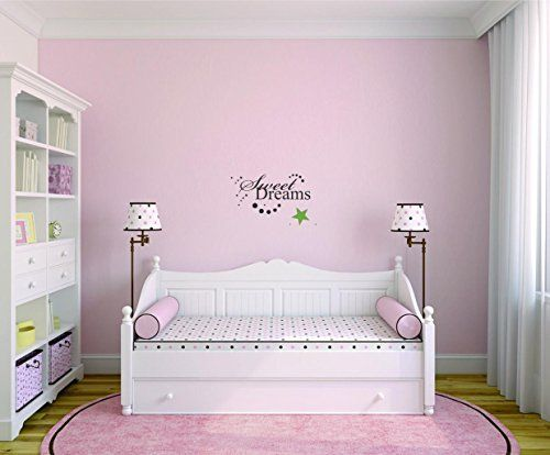 Design with Vinyl Moti 2520 1 Decal  Peel  Stick Wall Sticker  Sweet Dreams 5 Bedroom Quote Kids Teen Boy Girl Family Color Black Size 8 Inches x 20 Inches -- You can find more details by visiting the image link.