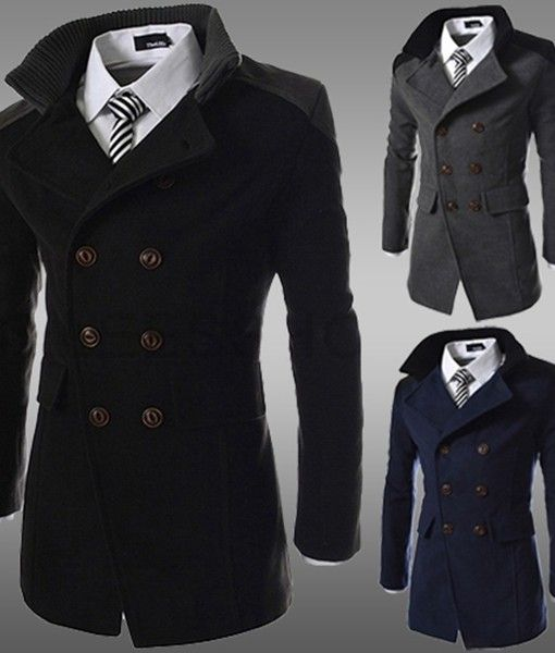 aaef95da92b Winter Men Coat Funnel Neck Cotton Double-Breasted Topcoat OMG...I m  drooling imagining my mam in this.