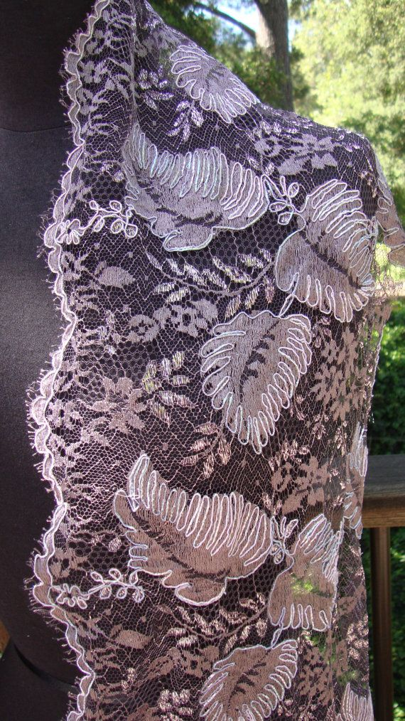 """14"""" Wide French Mauve Metallic Floral Lace Bridal Wedding Fabric  Victorian Style Antique Style Lace Eyelash Lace Made in France 1 JM32"""