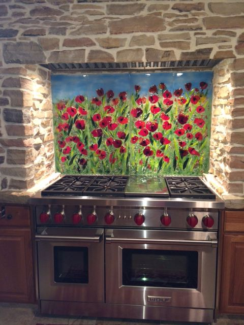 Superbe Red Poppy Kitchen Backsplash | Designer Glass Mosaics | Designer Glass  Mosaics