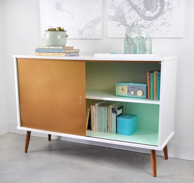 Before And After: Painted Vintage Cabinet With Copper Vinyl On Glass Door |  Furnitures Design | Pinterest | Glass Doors, Retro Furniture And Doors