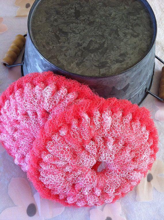 Nylon Pot Scrubber, 2 Watermelon #Pink Dish Scrubber Crocheted ...