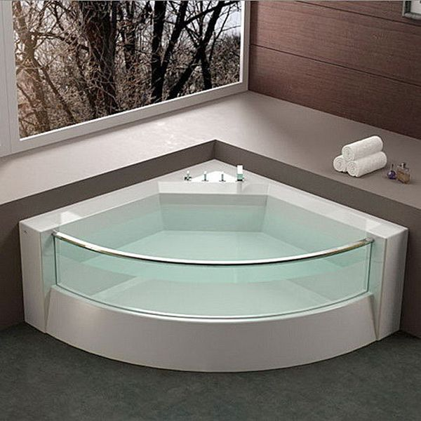 Small Bathtub Designs | Modern corner shower bathtub design ideas ...