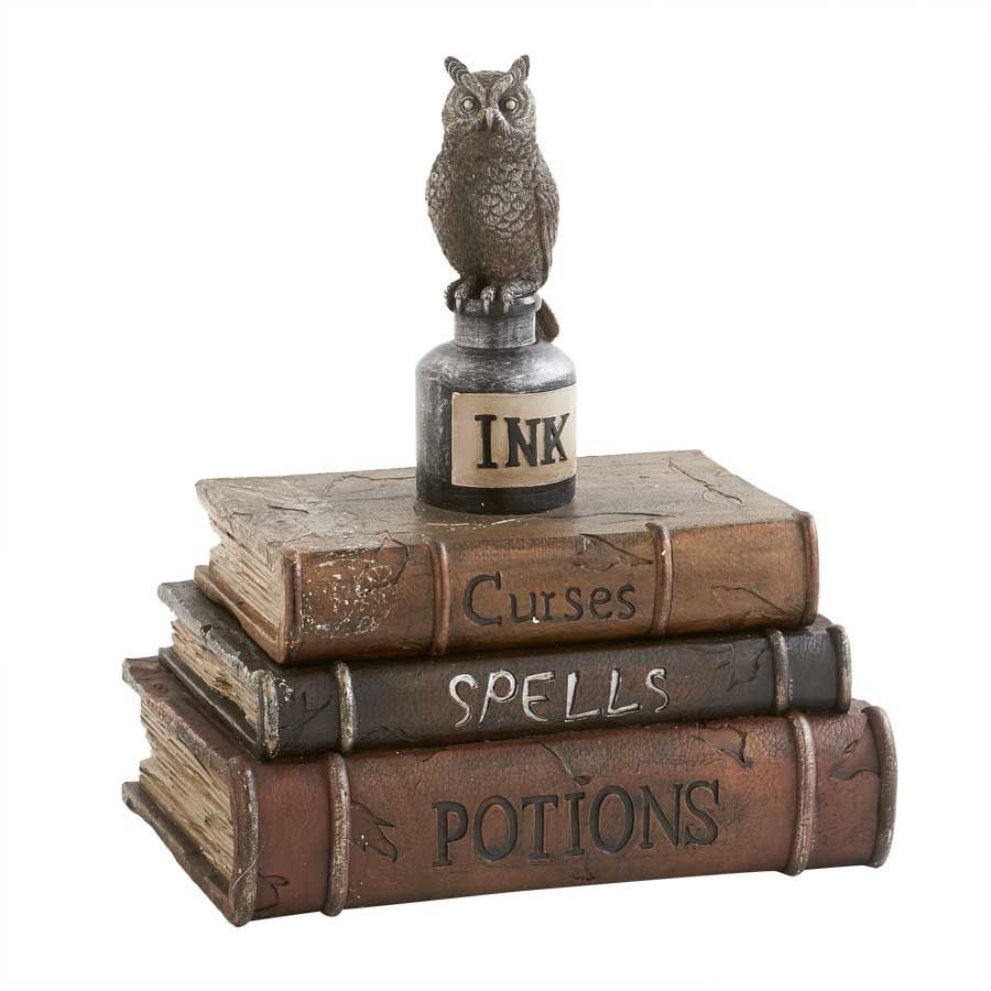 Halloween Home Decor Collection Curses Spells Potions Book Box With Owl Atop White