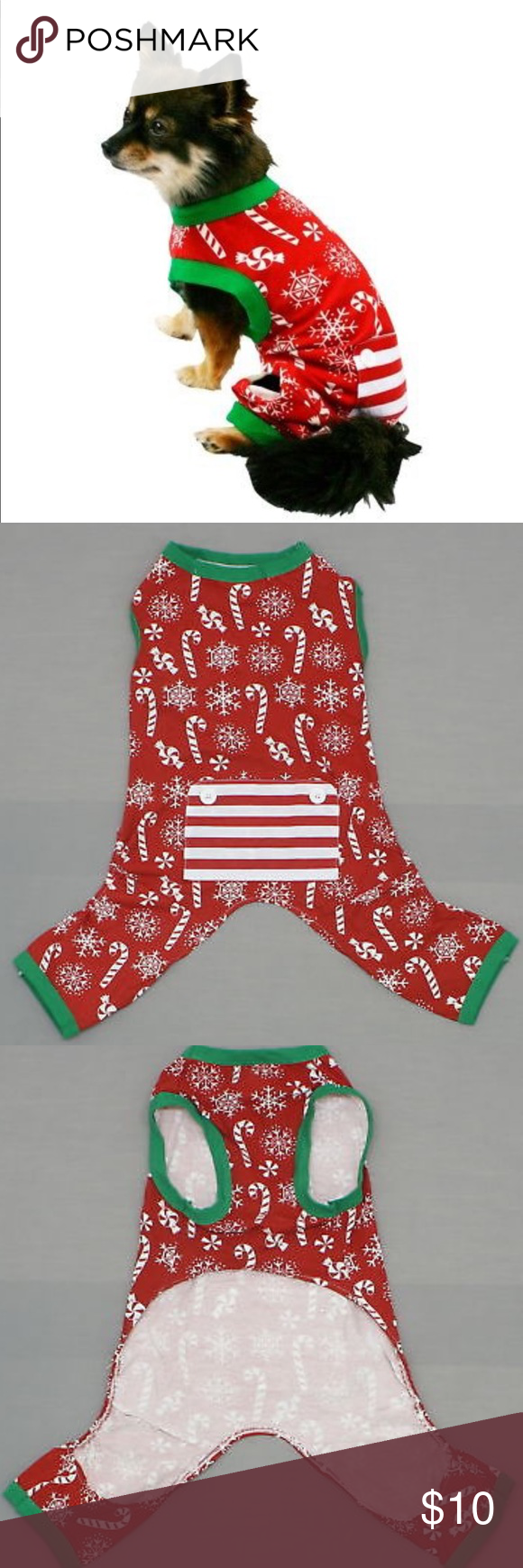 Pet Pajamas Christmas Candy Cane Dog Pajamas XL cute