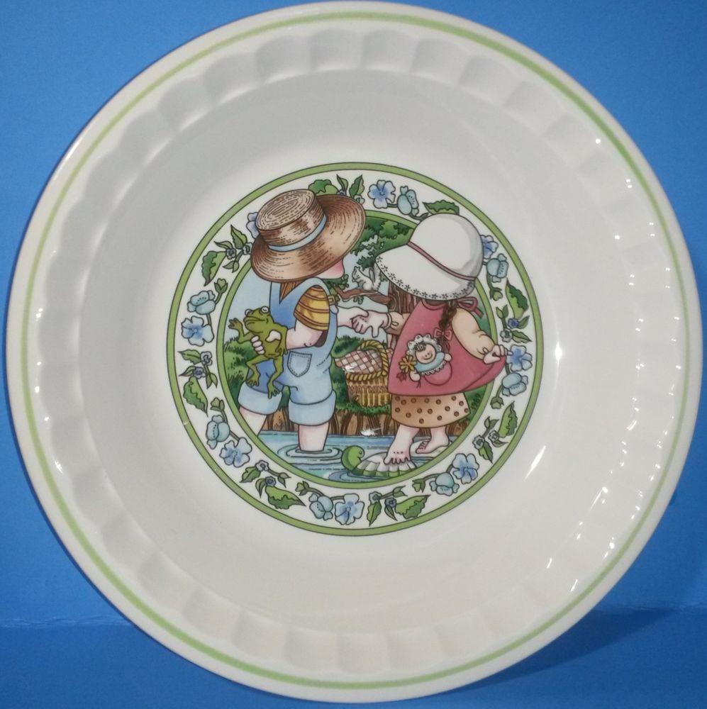 Vintage Watkins 10\  Pie Plate Country Kids Collector Recipe Summertime Friends & Vintage Pie Plate Watkins 10\