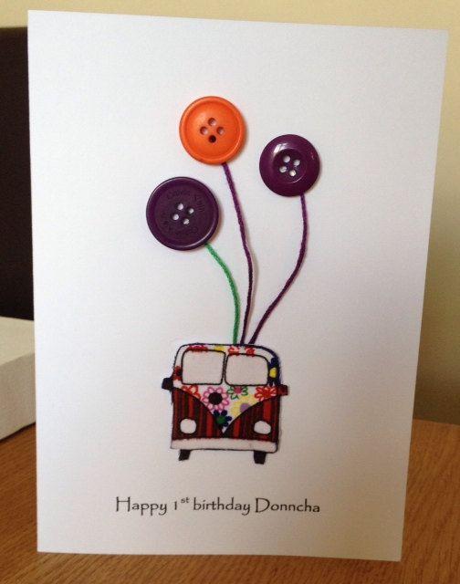 Campervan Button Art Birthday Cards Handmade On Etsy 2 50 Cards Handmade Handmade Birthday Cards Daisy Cards