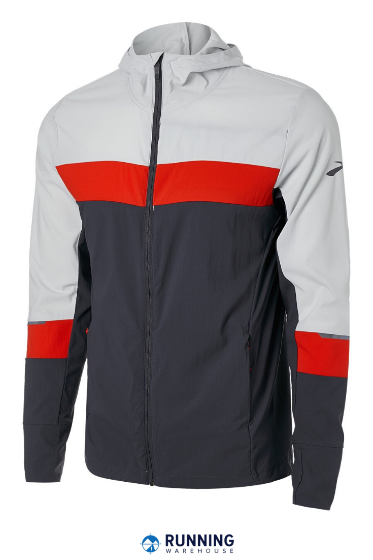 The Brooks Men's Spring Canopy Jacket's got you covered. Wind and water-resistant fabrication with U...