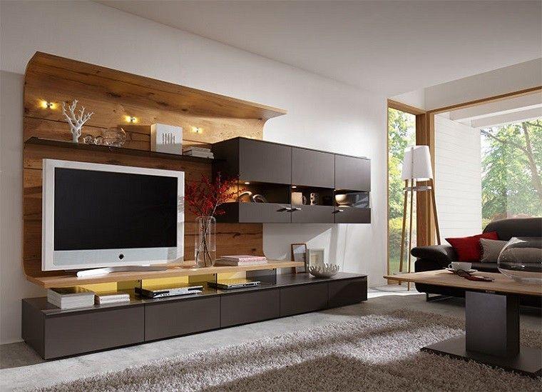 mueble tv para la pared de panel de madera