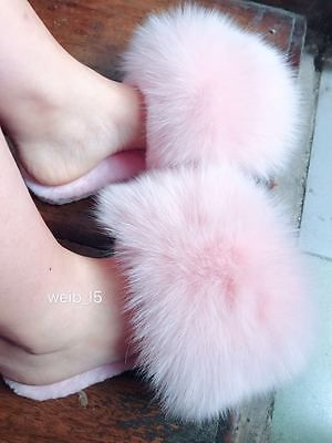 Collection Here Women Fur Slippers Luxury Real Fox Fur Beach Sandal Shoes Fluffy Comfy Furry Flip Flops Apparel Accessories