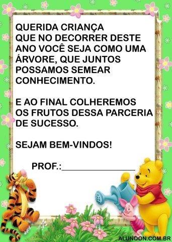 16 Cartoes De Volta As Aulas Do Ursinho Pooh Aluno On Frases
