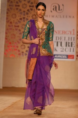 Purple & Green Punjabi Style Dress Designer: Ashima Leena