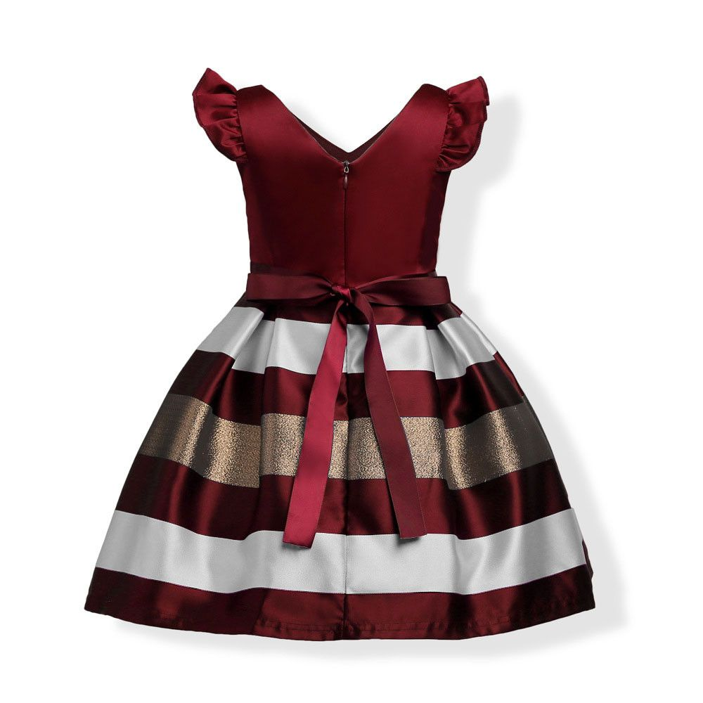 Lovely Toddler Kid Baby Girl Stripe Bowknot Summer Casual Princess Dress Clothes