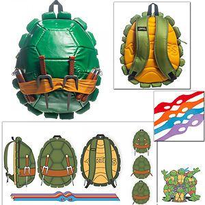 Teenage Mutant Ninja Turtles Turtle Shell Costume Backpack Bag /& 4 Eye Masks Set