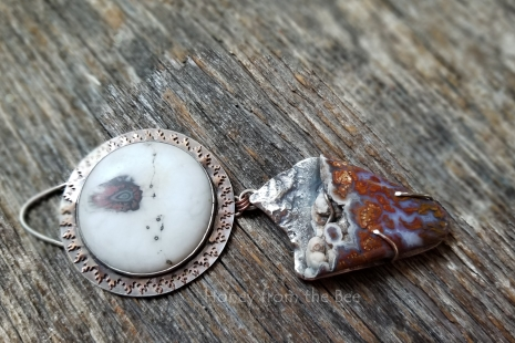 Wingate Pass, Death Valley Plume Agate, lampwork cab by Mikelene Reusse, Sterling Silver, copper