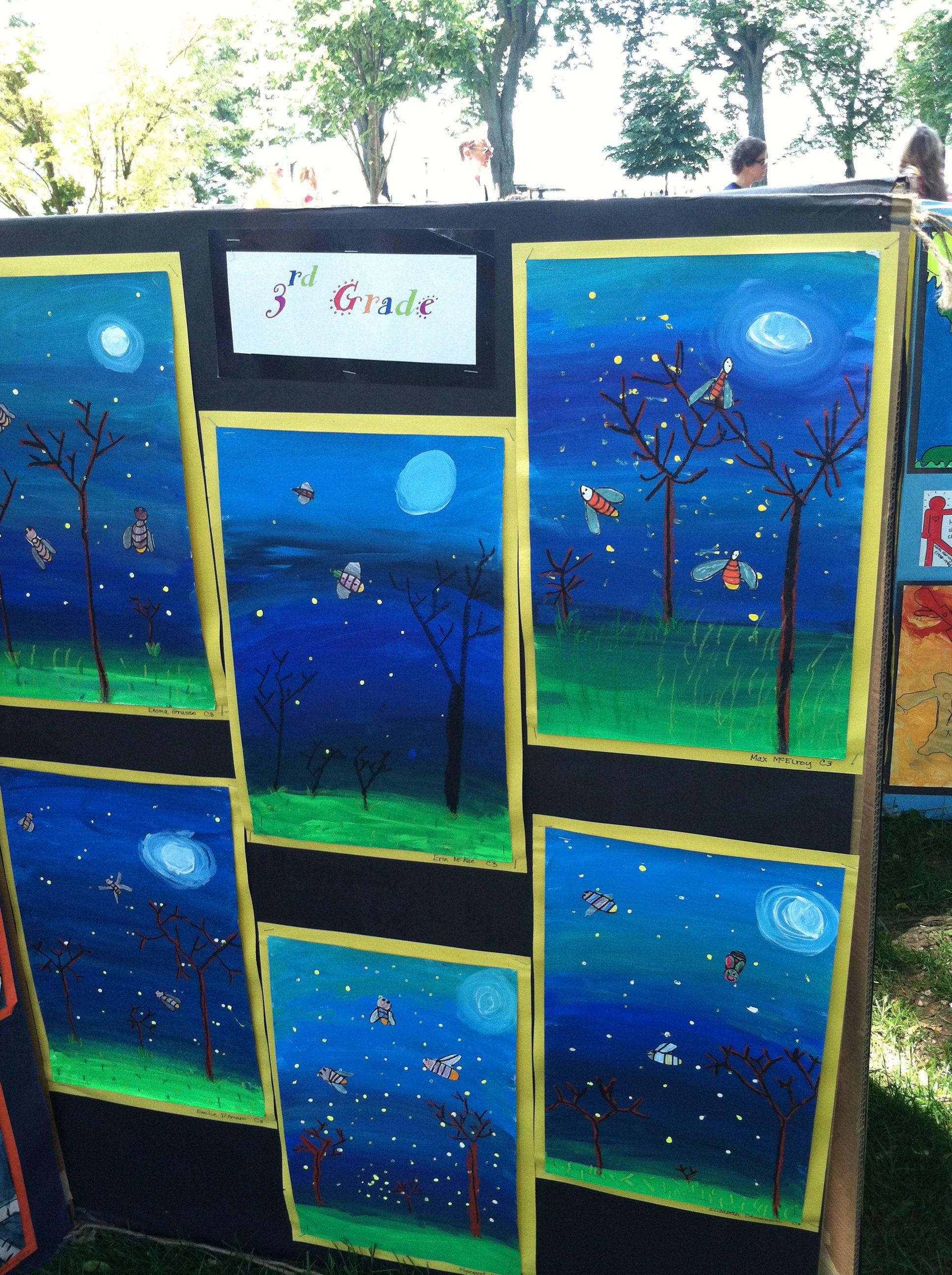 Elementary Art Education Landscape Night Time Fireflies
