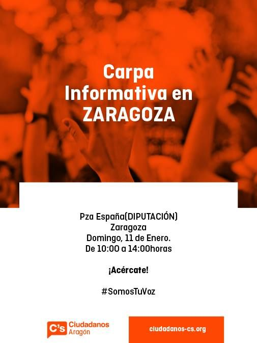 ¡Acércate! Carpa informativa en ZARAGOZA Plaza de España.(Diputación) Domingo 11 de Enero. De 10:30 a 14:00