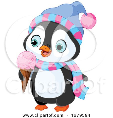 b108eff6fa7298 Clipart of a Cute Winter Penguin Wearing a Hat and Scarf and Eating a  Waffle Ice Cream Cone - Royalty Free Vector Illustration by Pushkin