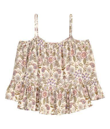 Off-the-shoulder blouse | Natural white/Floral | Ladies | H&M AU