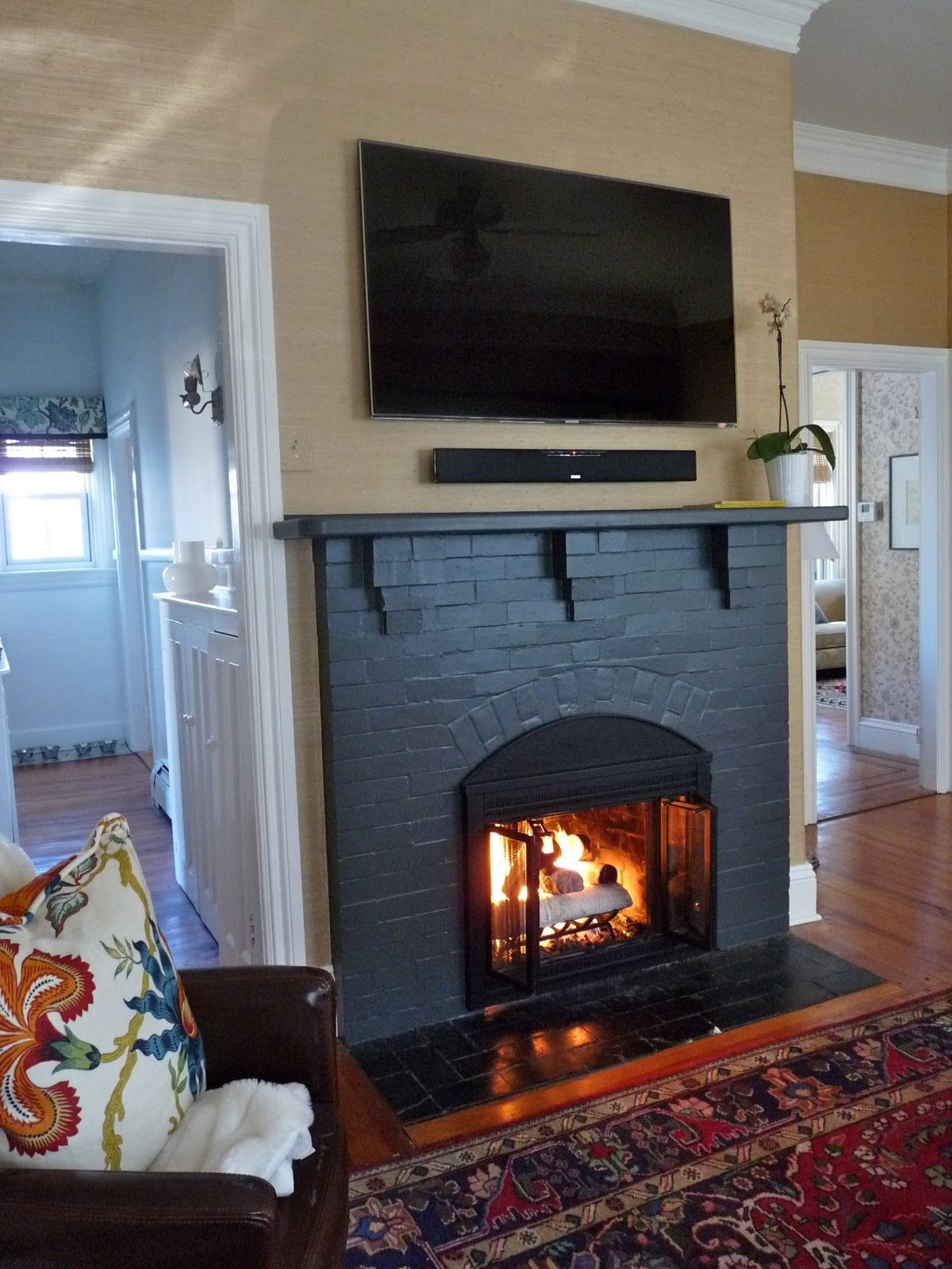 Love The Black Fireplace Painted Brick Fireplaces Brick Fireplace Black Fireplace