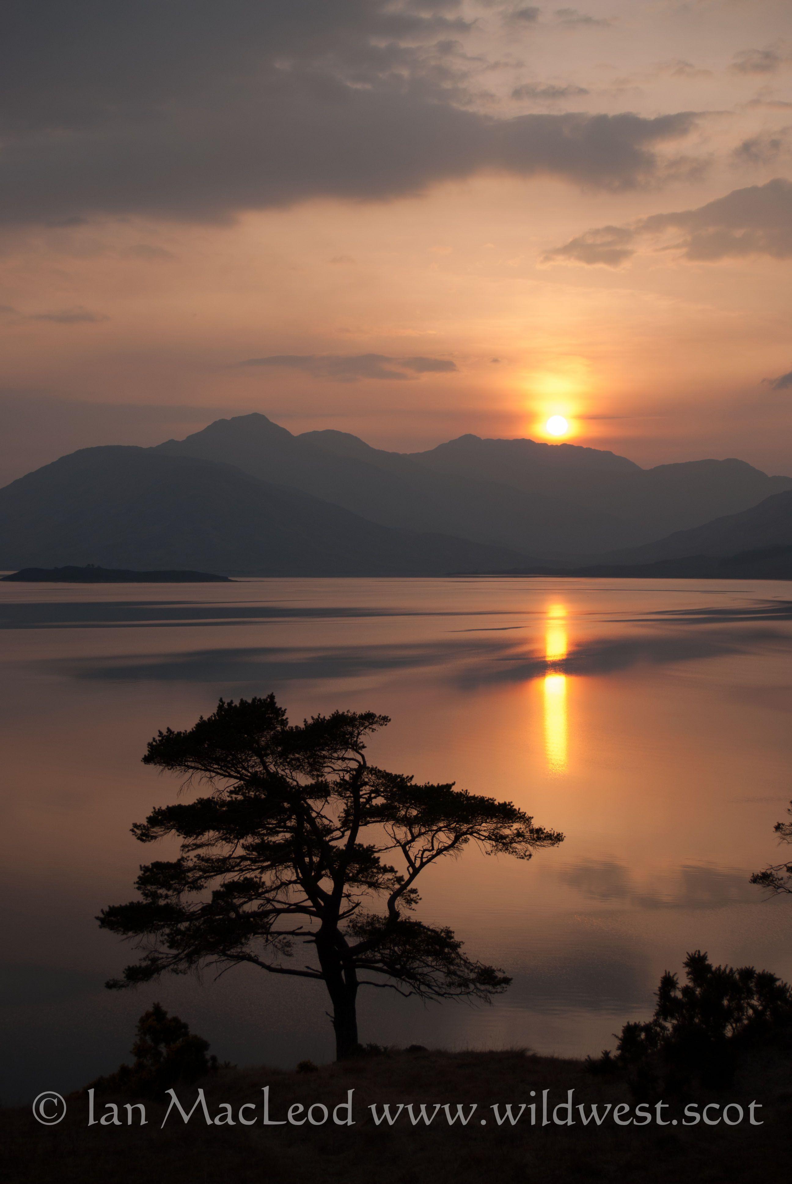 Sunset on Loch Quoich, Glengarry