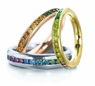 Colored diamonds, stack rings.