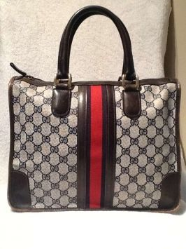 089098e9697 Vintage 1940-50 s Gucci Italy Gg Logo Purse Blue Tote Bag  964 ...