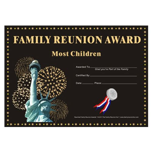 Family reunion hut most children award country pride for Free family reunion certificates templates