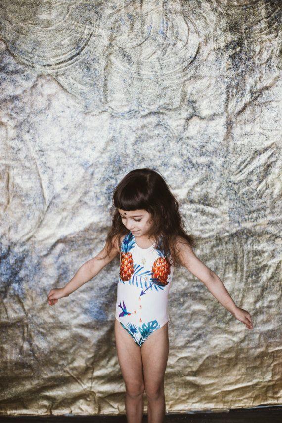 10fb881e716fd Little girl swimsuit Pineapple bathing suit Kids swimwear | baby + ...