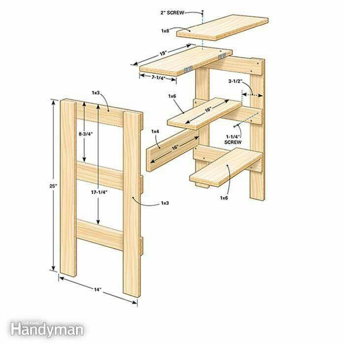 Banqueta escalera 1 woodworking 4 red woodworking for Banqueta escalera plegable