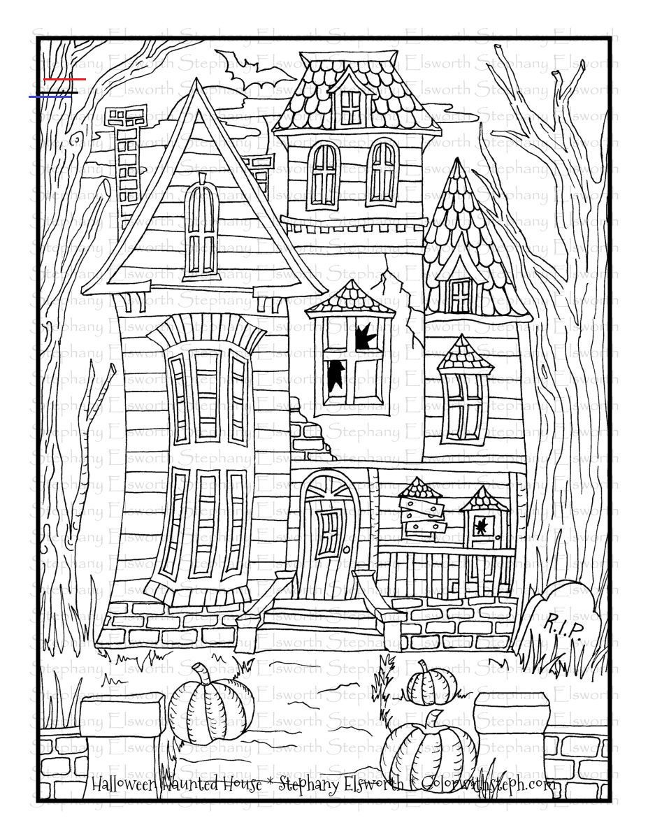 Halloween Haunted House Free Printable Coloring Page