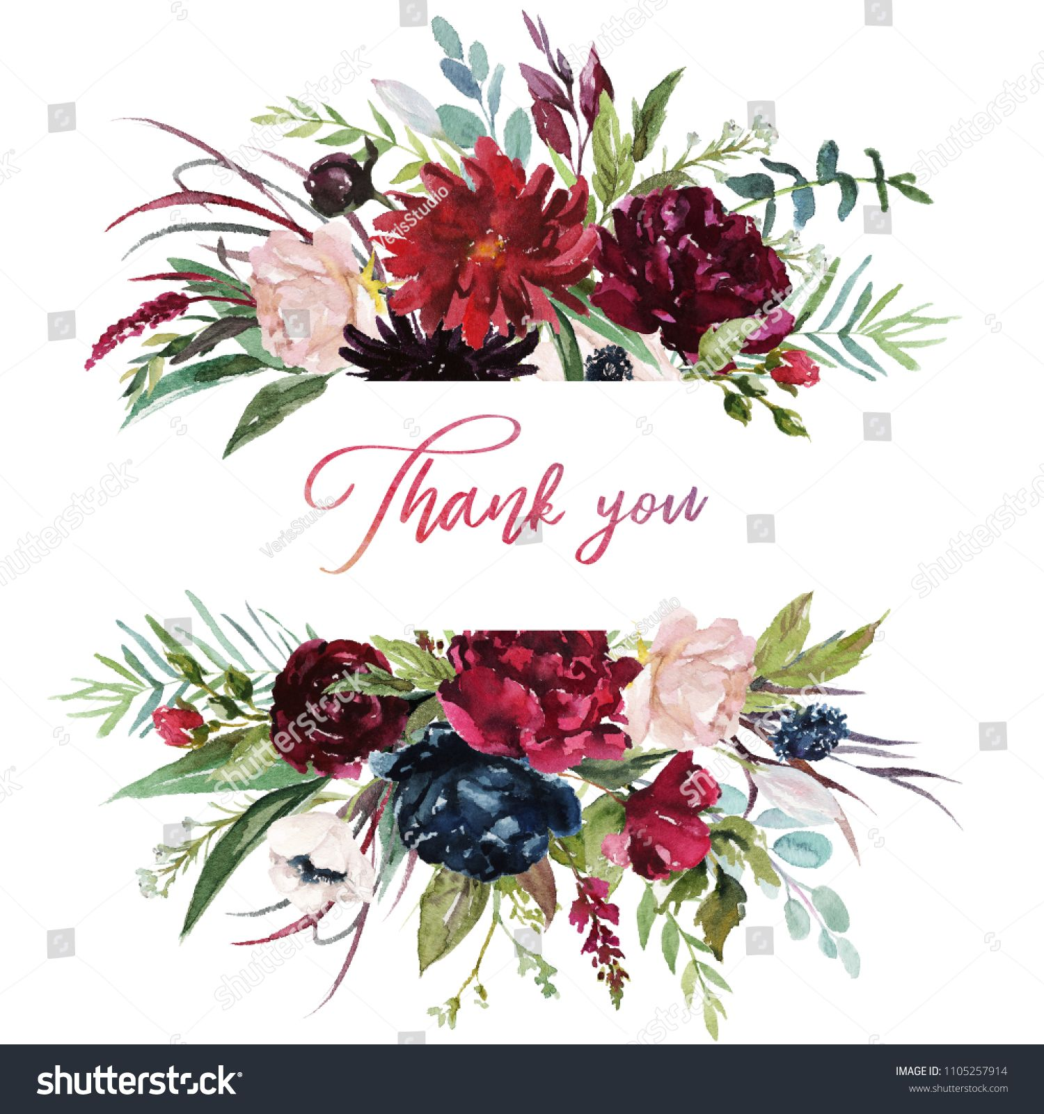 Watercolor floral illustration burgundy flowers border