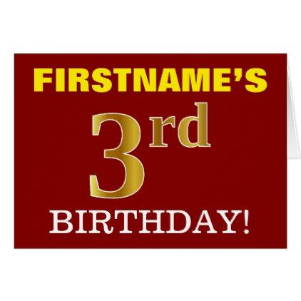 Red Imitation Gold 3rd Birthday Birthday Card Birthday Cards