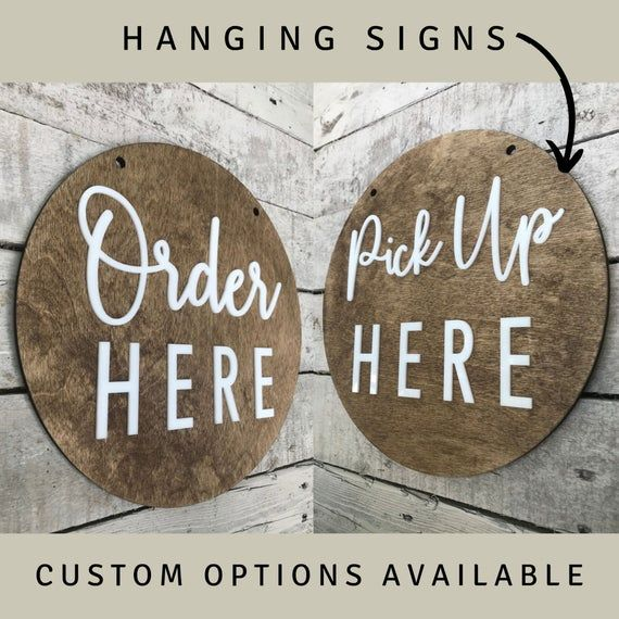 Order Here Pickup Here BUSINESS Sign | Custom COFFEE SHOP Restaurant Bakery Ice Cream Stand | Cafe Decor Signs | Rustic Modern Display