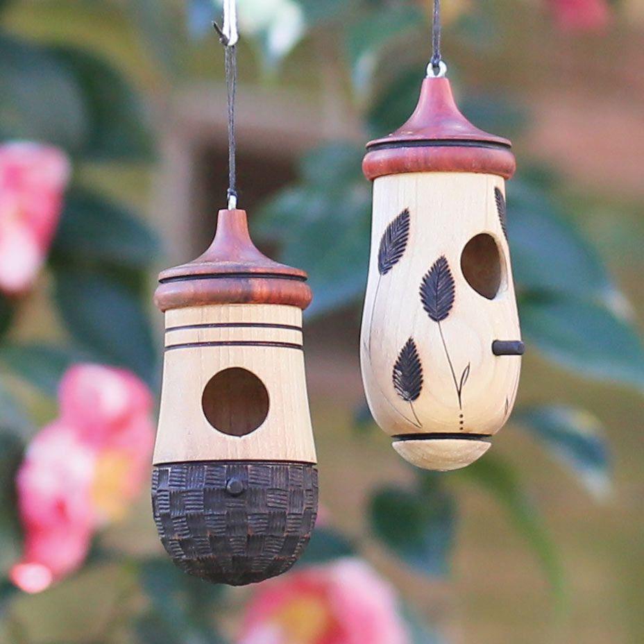 Spring Garden Decorations! Turned Wood Hummingbird House