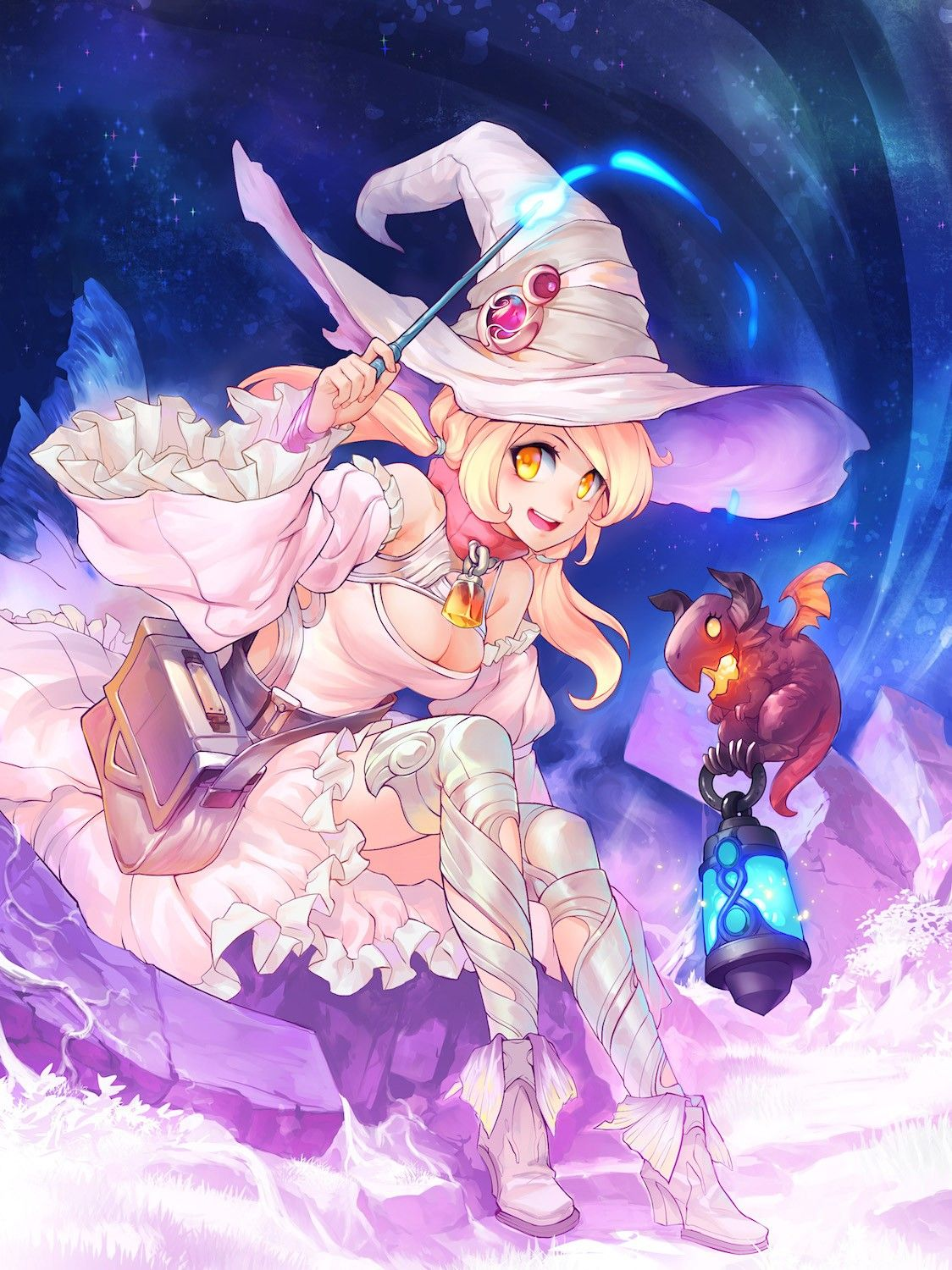 Anime 1124x1500 anime anime girls witch open shirt witch