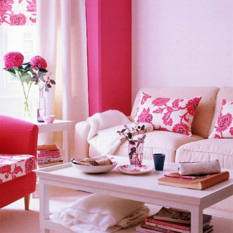 Comfortable Flower Theme Living Room Lets Add Pink Touch To Your ...