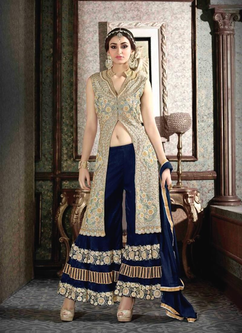 Intricate blue patch border work designer suit the classic black