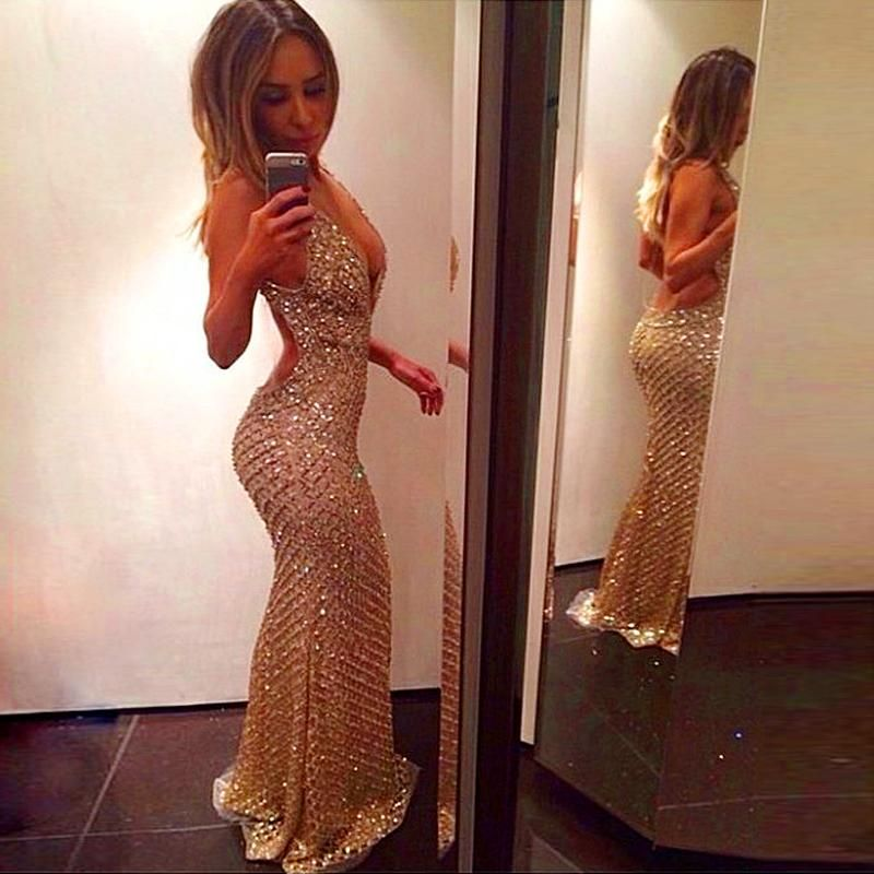 Gold Sequin Crystals Beaded Backless Luxury Long Halter Backless Evening Dresses…