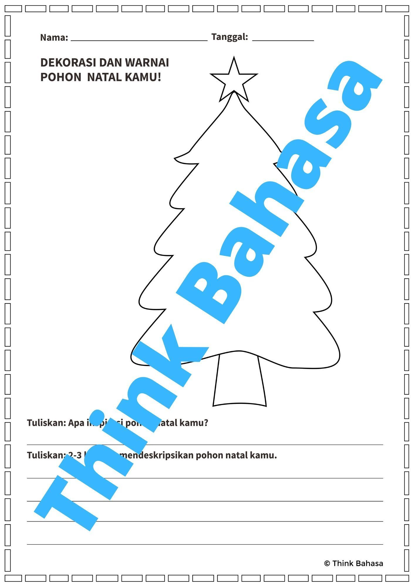 Describing Christmas Themed Illustrations In Bahasa